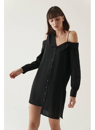 Rue Asimetrik Omuzlu Gömlek Elbise Siyah